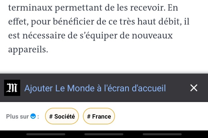 Application PWA Le Monde raccourci site internet sur l'écran d'accueil