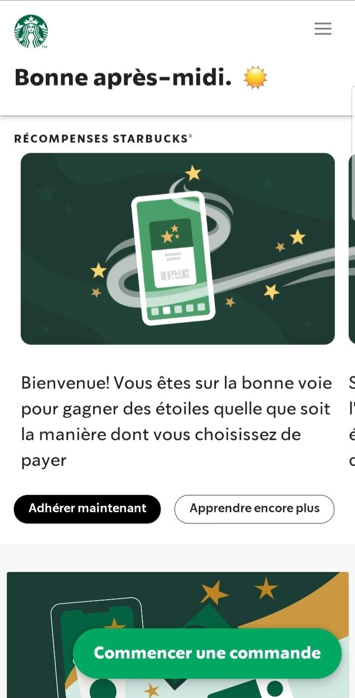 Progessive web app fast food et commande en ligne Starbucks