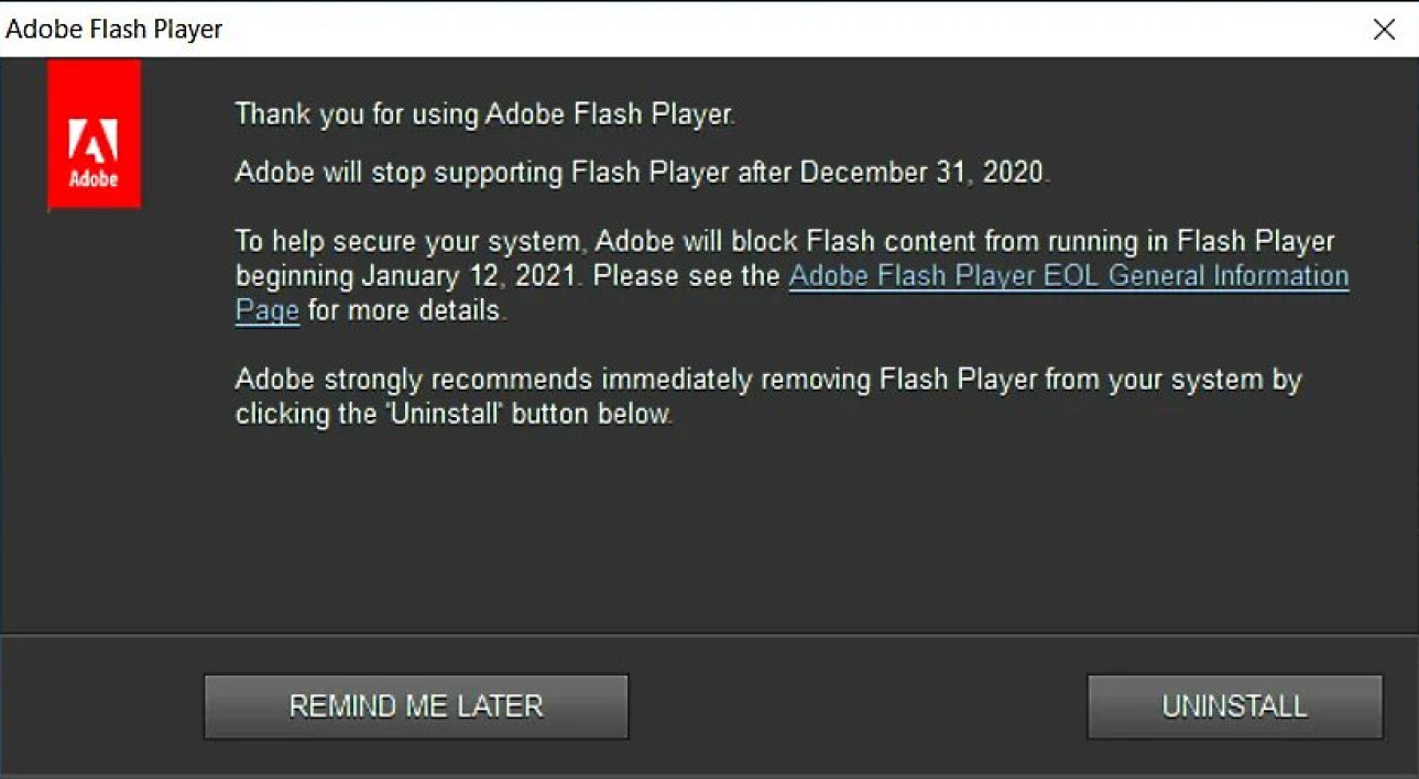 Adobe rappel à ses utilisateurs de désinstaller Adobe Flash Player